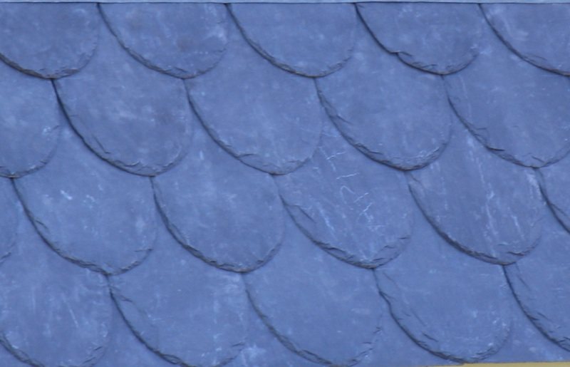 Slate roofing-Welsh Penrhyn slate scalloped pattern