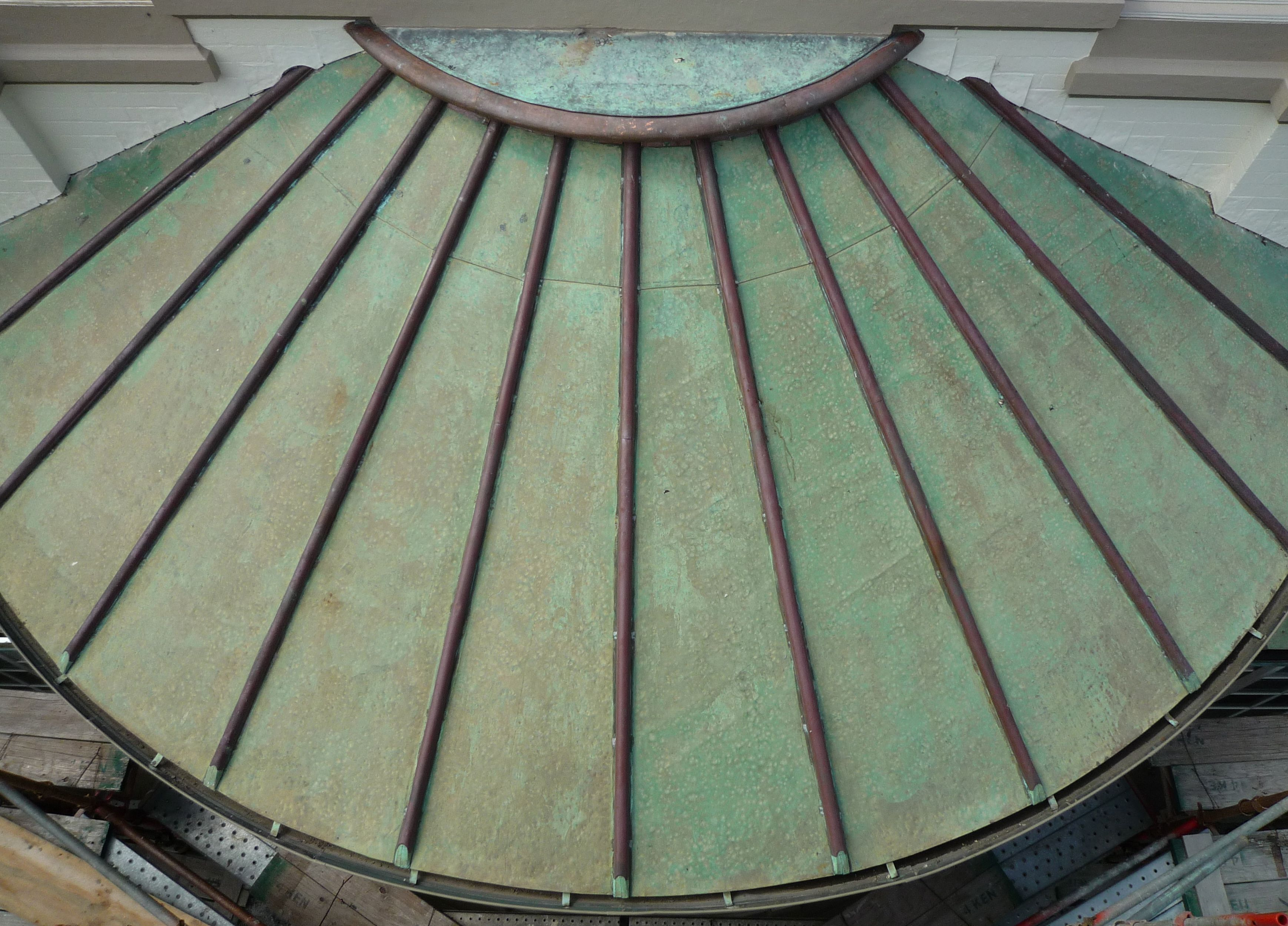 Copper roofing Sydney-Existing curved roof slavaged & repaired, curved copper roofing