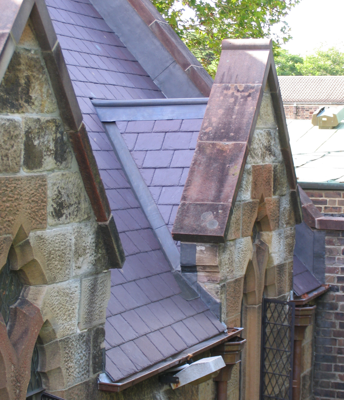 Heritage slate roofing sydney, Welsh penrhyn roof slate, traditional leadwork, lead ridge capping, lead valleys, lead flashings, St.Pauls' College,Sydney University