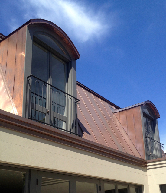 Copper Roofing Sydney Mansard roofing with curved copper Dormers